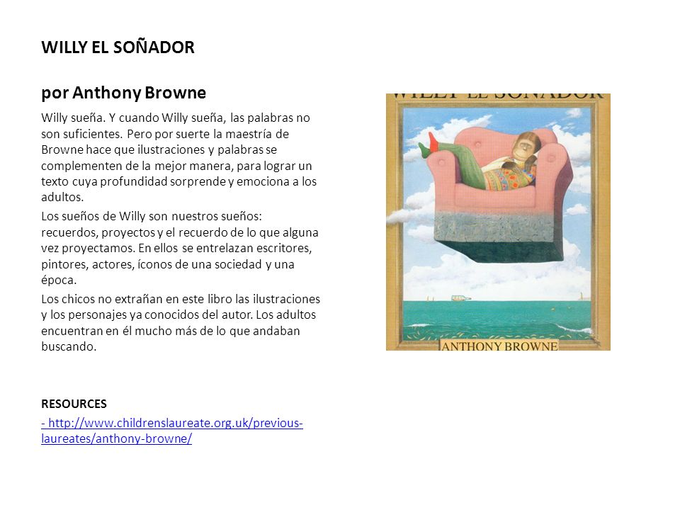 WILLY EL SOÑADOR por Anthony Browne