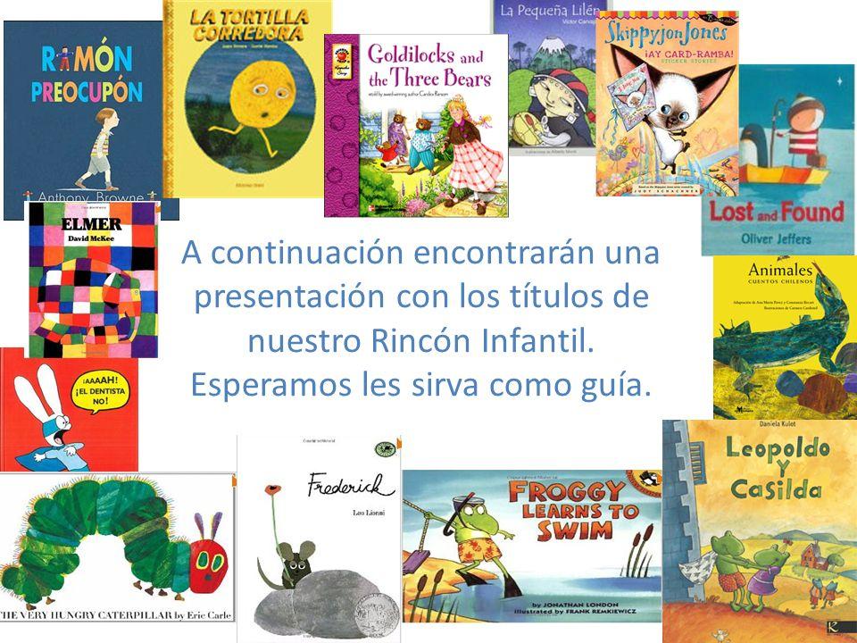 A continuación encontrarán una presentación con los títulos de nuestro Rincón Infantil.