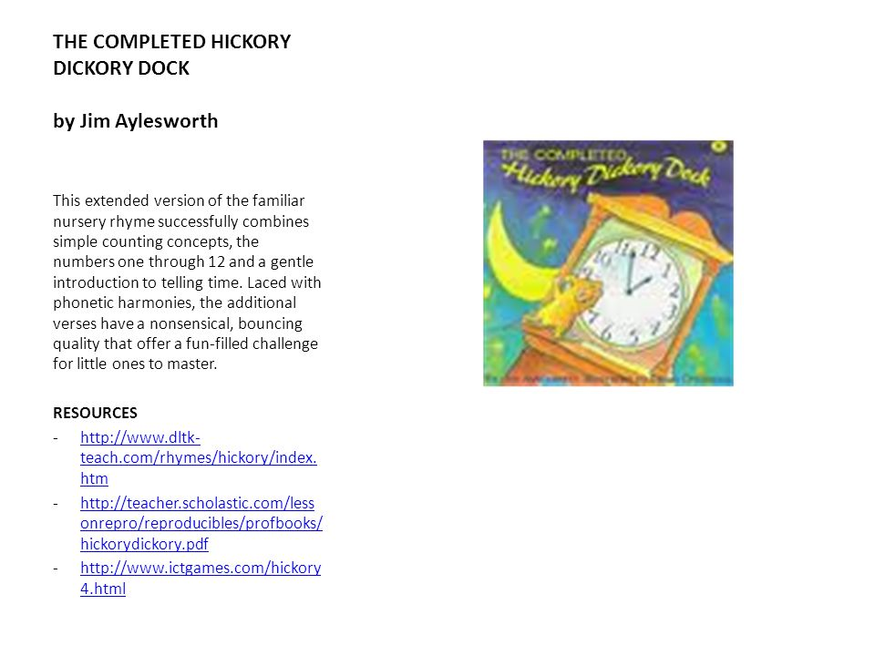 THE COMPLETED HICKORY DICKORY DOCK by Jim Aylesworth