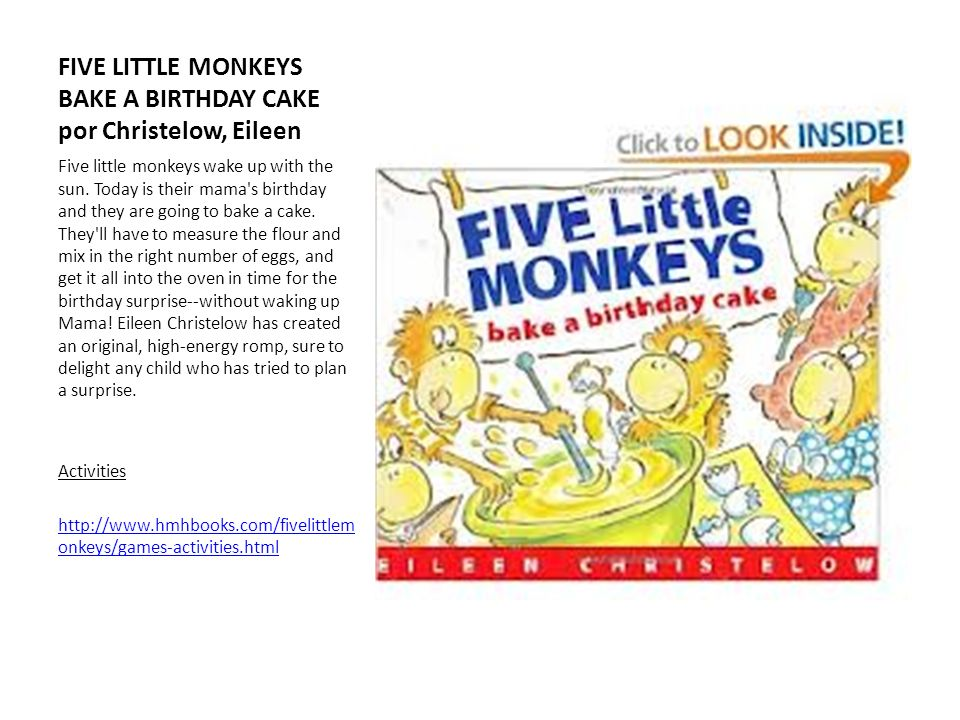 FIVE LITTLE MONKEYS BAKE A BIRTHDAY CAKE por Christelow, Eileen