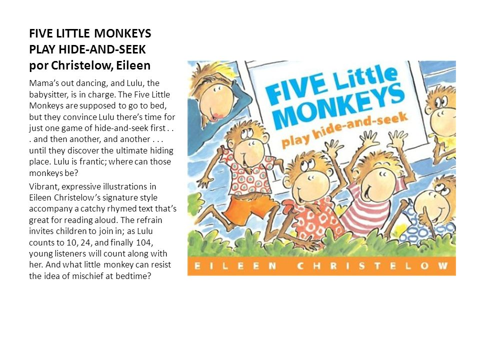 FIVE LITTLE MONKEYS PLAY HIDE-AND-SEEK por Christelow, Eileen