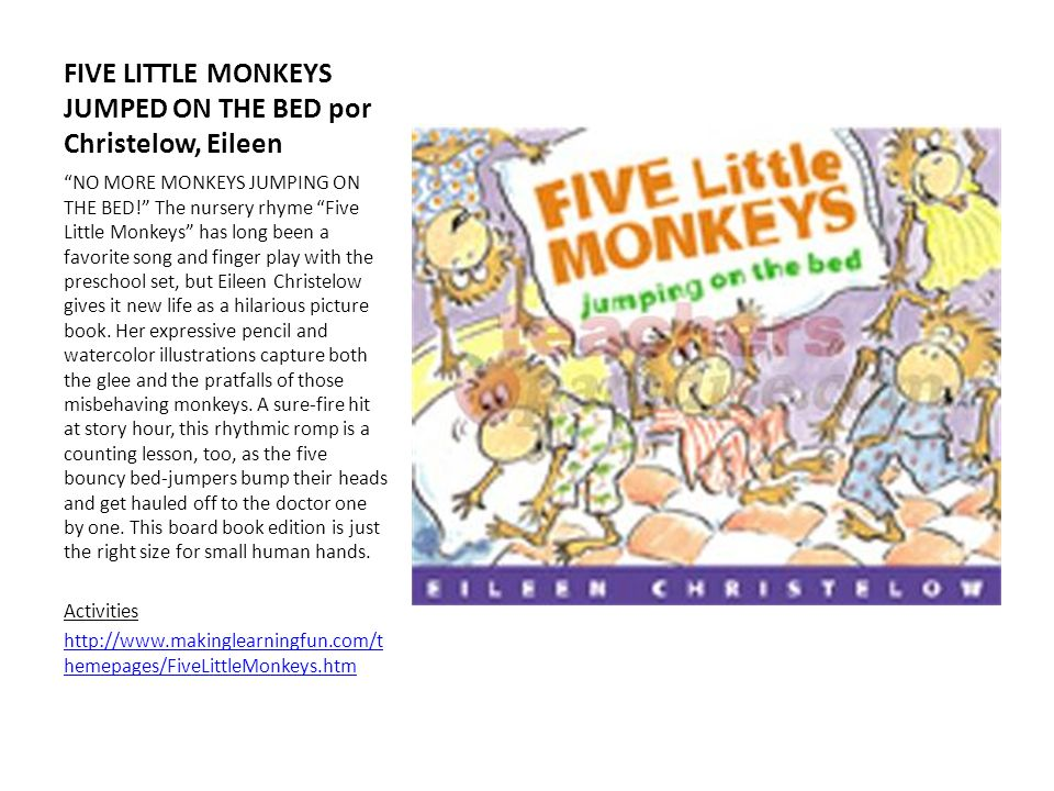 FIVE LITTLE MONKEYS JUMPED ON THE BED por Christelow, Eileen