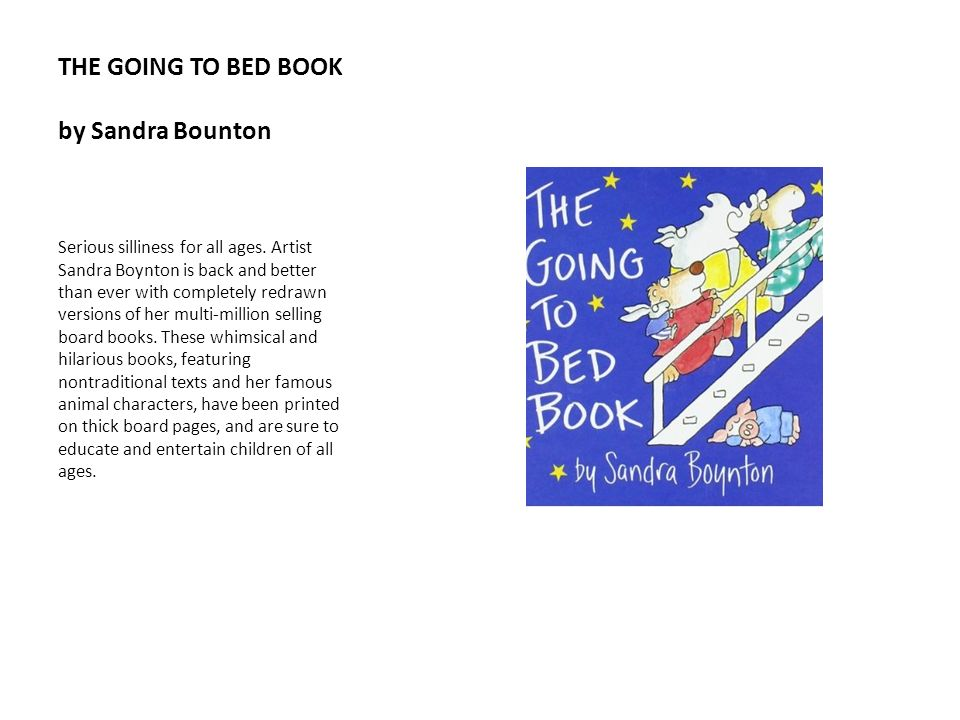 THE GOING TO BED BOOK by Sandra Bounton