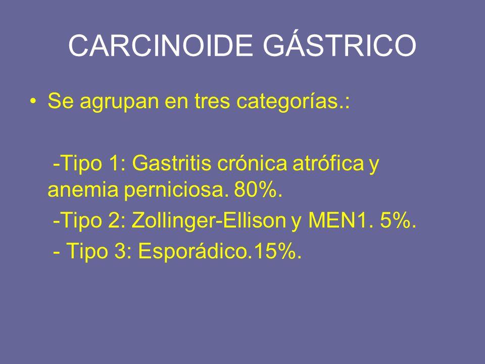 CARCINOIDE GÁSTRICO Se agrupan en tres categorías.: