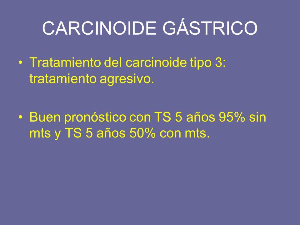 CARCINOIDE GÁSTRICO Tratamiento del carcinoide tipo 3: tratamiento agresivo.