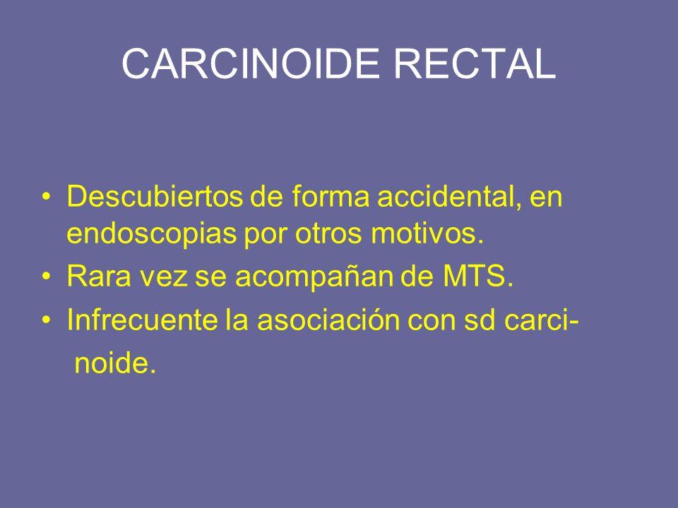 CARCINOIDE RECTAL Descubiertos de forma accidental, en endoscopias por otros motivos. Rara vez se acompañan de MTS.