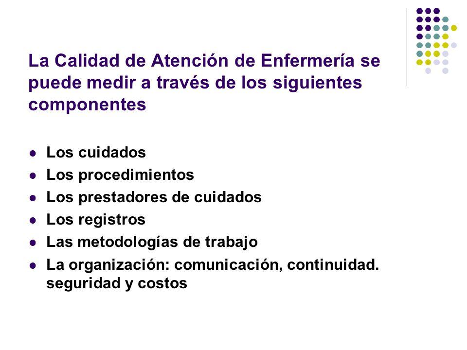La Calidad de Atención de Enfermería se puede medir a través de los siguientes componentes