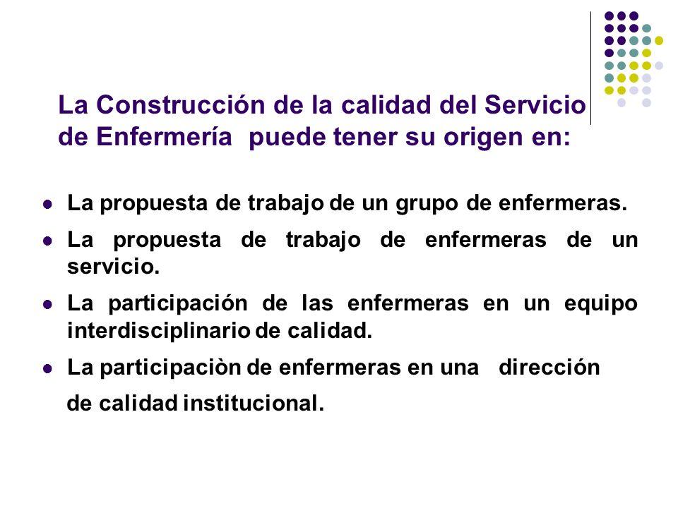 La Construcción de la calidad del Servicio de Enfermería puede tener su origen en: