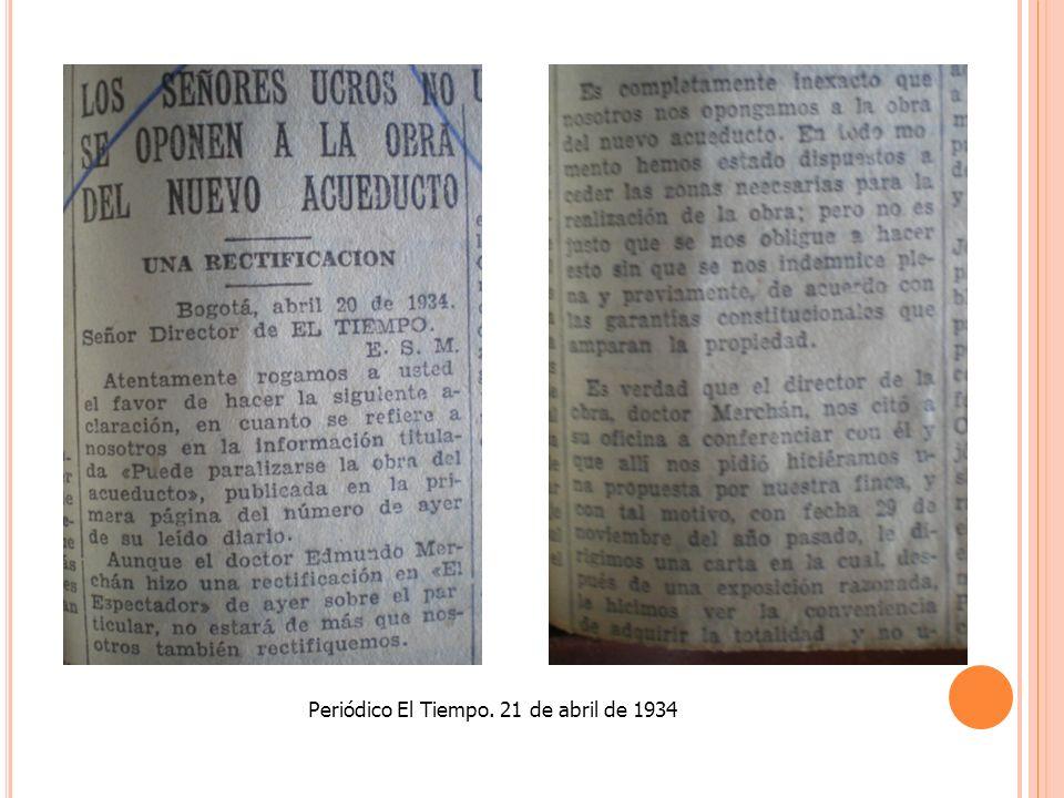 Periódico El Tiempo. 21 de abril de 1934