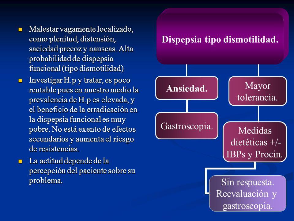 Malestar vagamente localizado, como plenitud, distensión, saciedad precoz y nauseas. Alta probabilidad de dispepsia funcional (tipo dismotilidad)