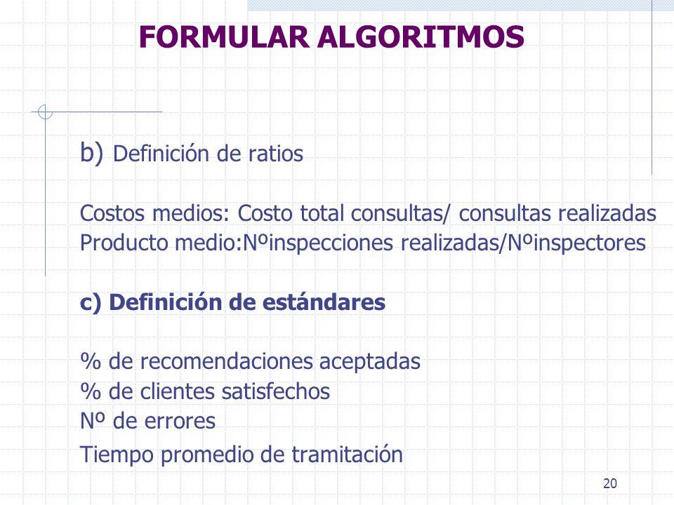 FORMULAR ALGORITMOS b) Definición de ratios