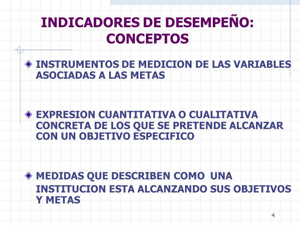INDICADORES DE DESEMPEÑO: CONCEPTOS