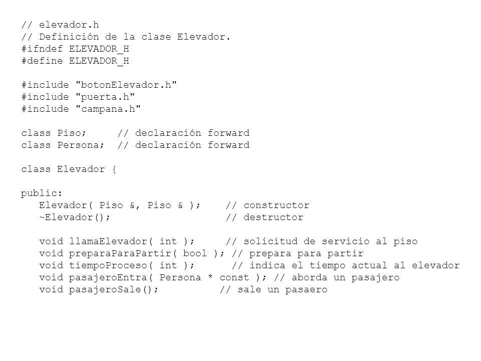 // Definición de la clase Elevador. #ifndef ELEVADOR_H