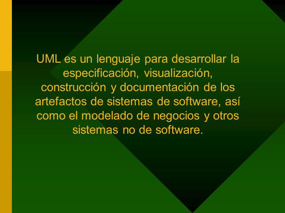 UML es un lenguaje para desarrollar la especificación, visualización, construcción y documentación de los artefactos de sistemas de software, así como el modelado de negocios y otros sistemas no de software.