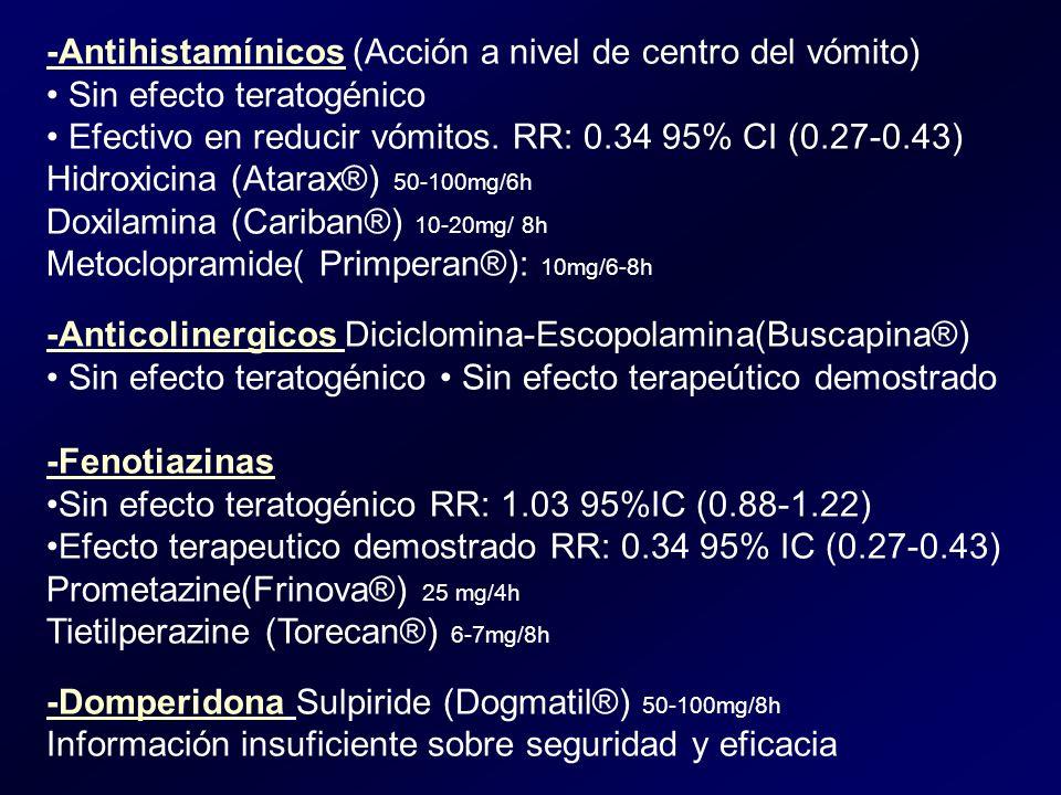 -Antihistamínicos (Acción a nivel de centro del vómito)