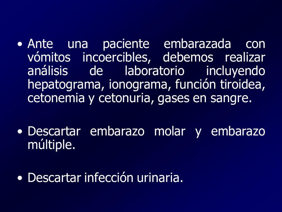 Ante una paciente embarazada con vómitos incoercibles, debemos realizar análisis de laboratorio incluyendo hepatograma, ionograma, función tiroidea, cetonemia y cetonuria, gases en sangre.