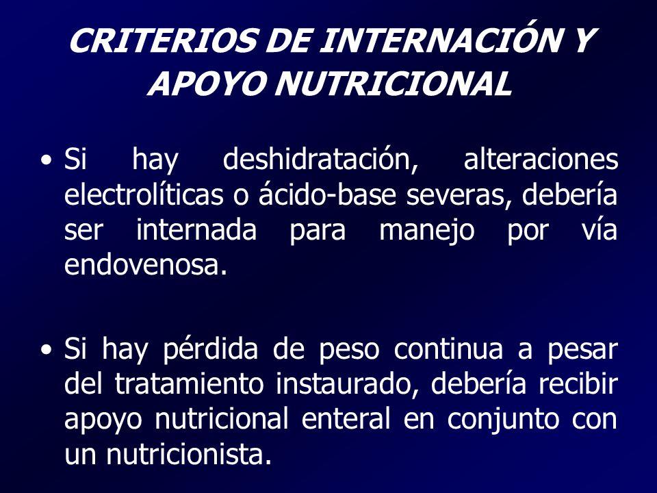 CRITERIOS DE INTERNACIÓN Y APOYO NUTRICIONAL