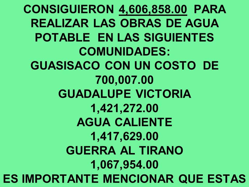 POR GESTIONES DE MI GOBIERNO EN ESTE SEGUNDO AÑO QUE INFORMO SE CONSIGUIERON 4,606,858.00 PARA REALIZAR LAS OBRAS DE AGUA POTABLE EN LAS SIGUIENTES COMUNIDADES: GUASISACO CON UN COSTO DE 700,007.00 GUADALUPE VICTORIA 1,421,272.00 AGUA CALIENTE 1,417,629.00 GUERRA AL TIRANO 1,067,954.00 ES IMPORTANTE MENCIONAR QUE ESTAS OBRAS SE ENCUENTRAN EN PROCESO