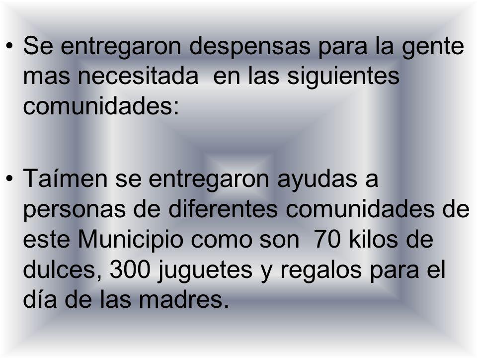 Se entregaron despensas para la gente mas necesitada en las siguientes comunidades: