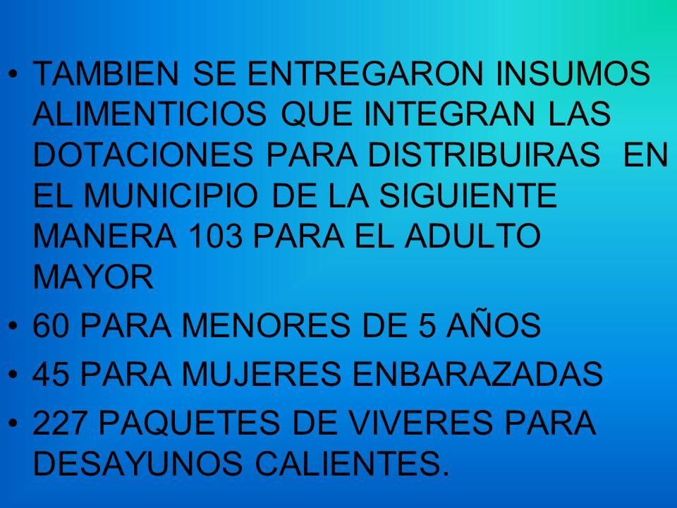 TAMBIEN SE ENTREGARON INSUMOS ALIMENTICIOS QUE INTEGRAN LAS DOTACIONES PARA DISTRIBUIRAS EN EL MUNICIPIO DE LA SIGUIENTE MANERA 103 PARA EL ADULTO MAYOR