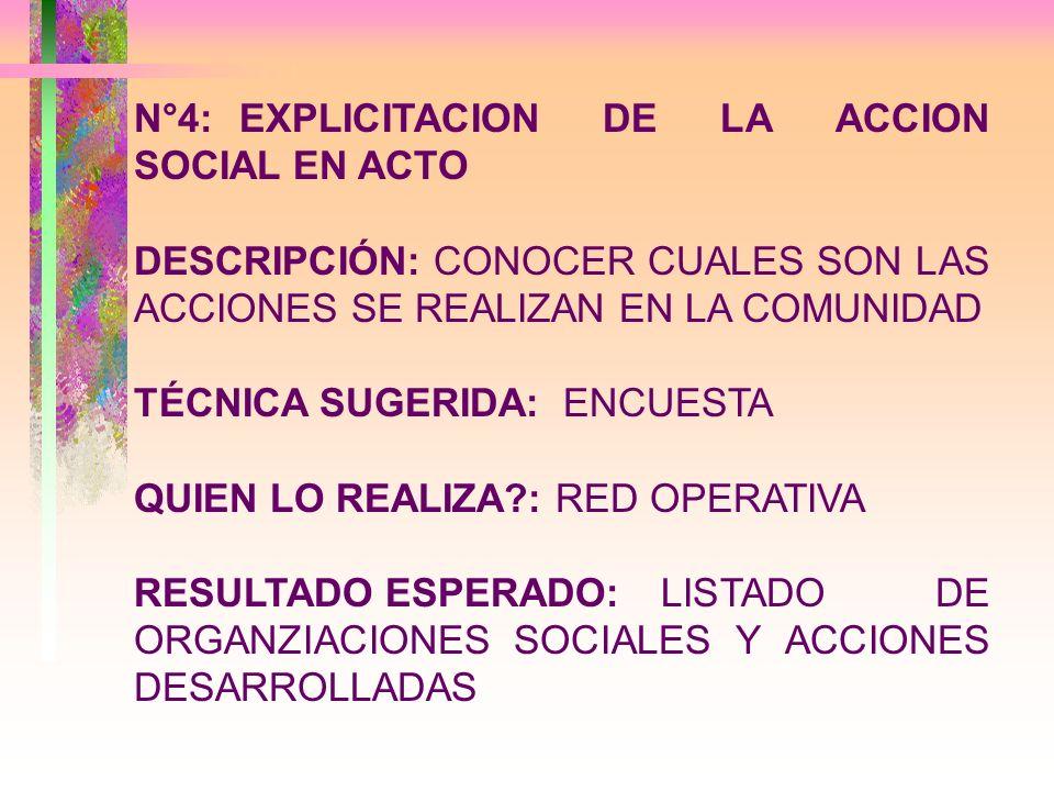 N°4: EXPLICITACION DE LA ACCION SOCIAL EN ACTO