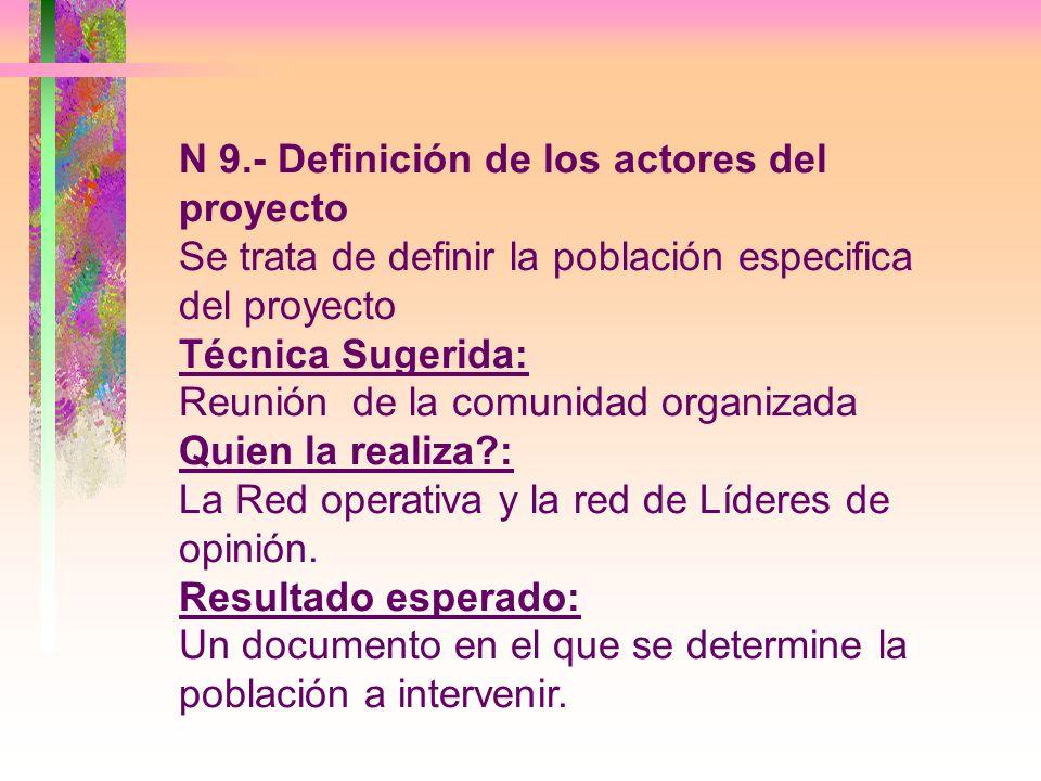 N 9.- Definición de los actores del proyecto