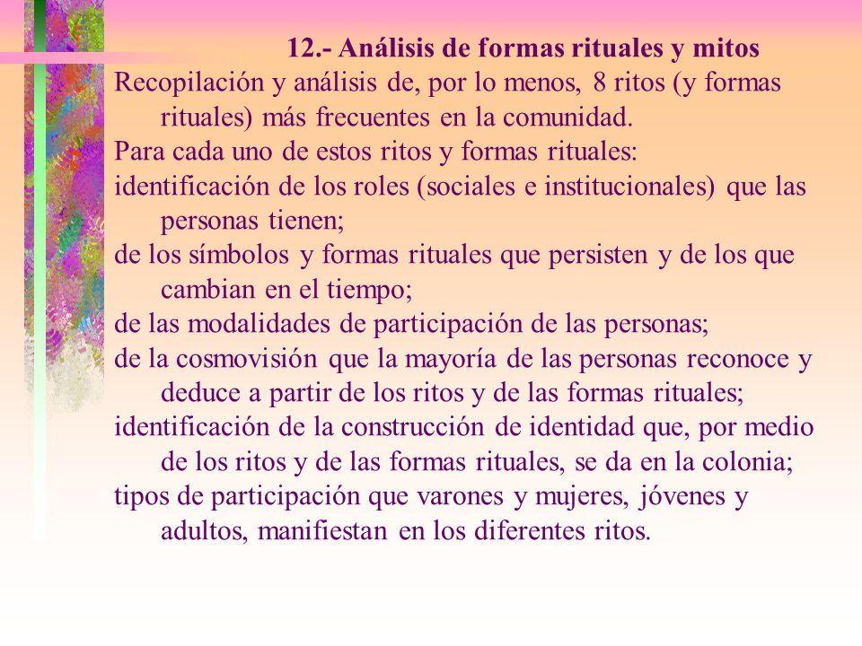 12.- Análisis de formas rituales y mitos