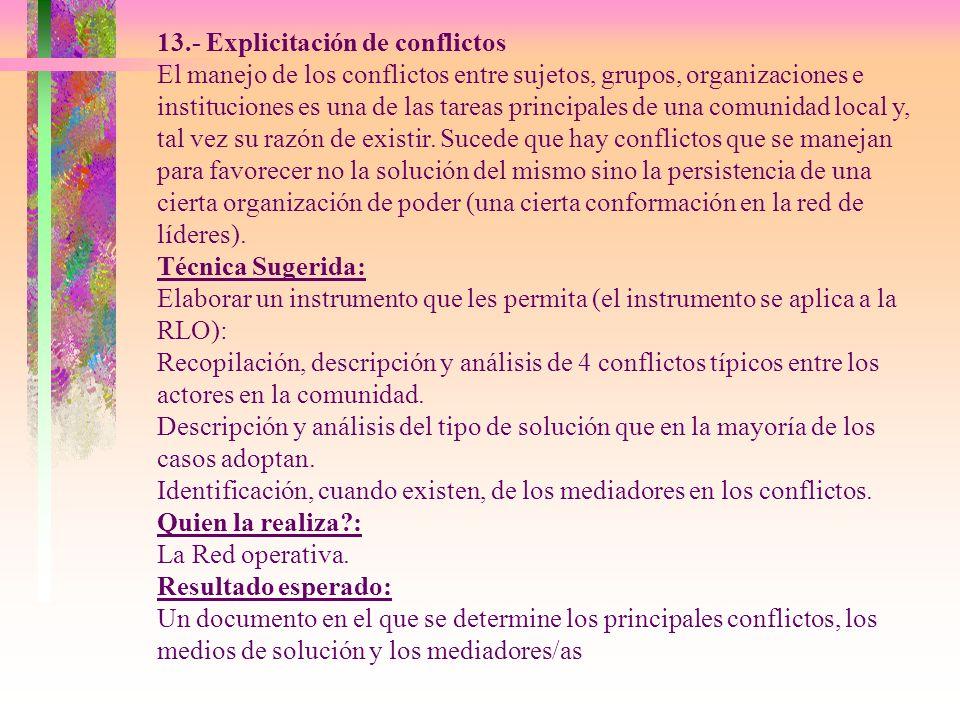 13.- Explicitación de conflictos