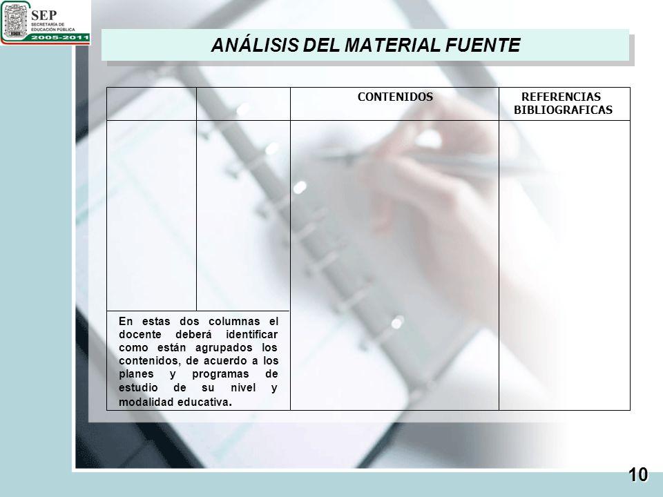 ANÁLISIS DEL MATERIAL FUENTE