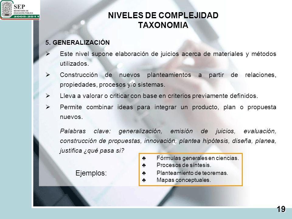 NIVELES DE COMPLEJIDAD TAXONOMIA