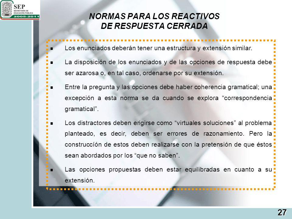 NORMAS PARA LOS REACTIVOS DE RESPUESTA CERRADA