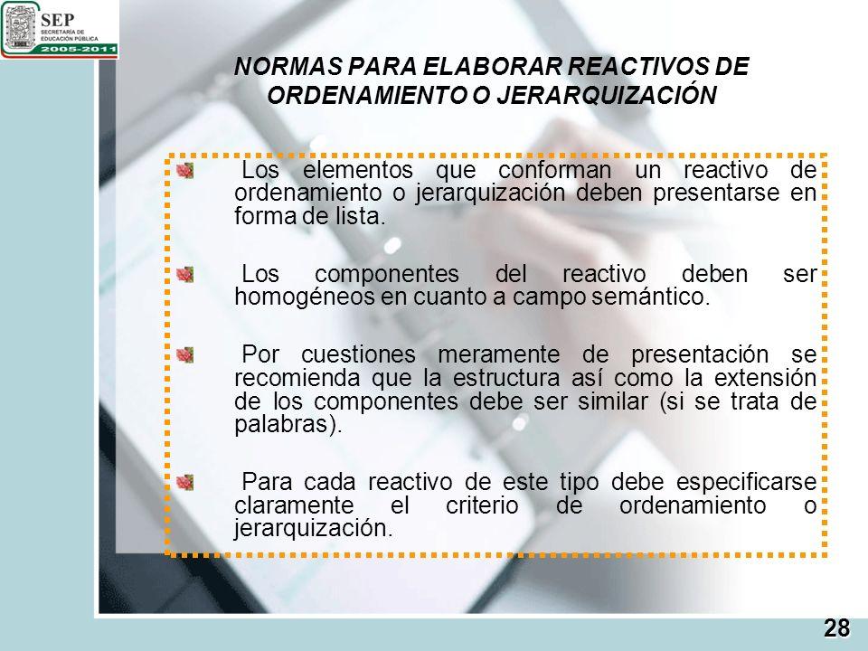NORMAS PARA ELABORAR REACTIVOS DE ORDENAMIENTO O JERARQUIZACIÓN