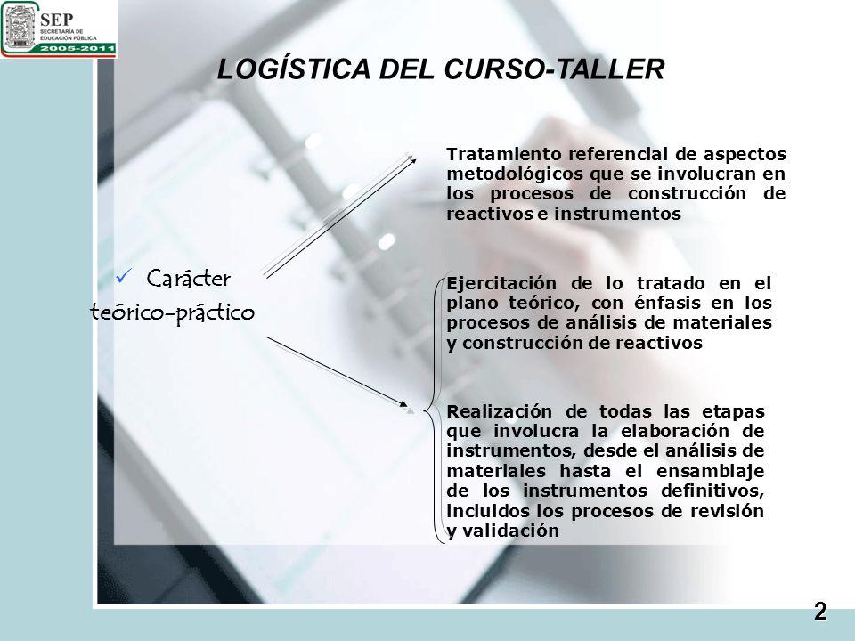 LOGÍSTICA DEL CURSO-TALLER