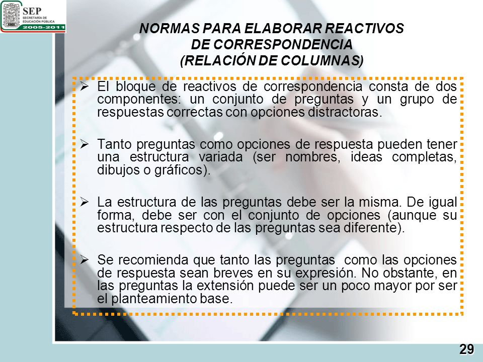 NORMAS PARA ELABORAR REACTIVOS DE CORRESPONDENCIA (RELACIÓN DE COLUMNAS)
