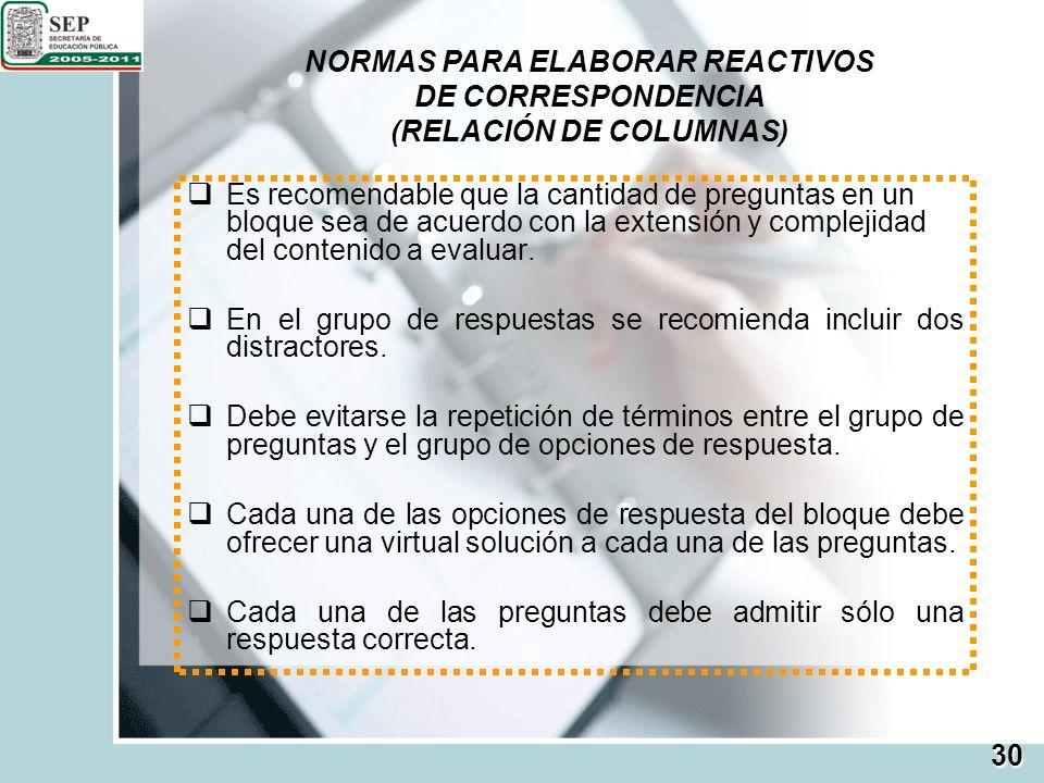 NORMAS PARA ELABORAR REACTIVOS (RELACIÓN DE COLUMNAS)
