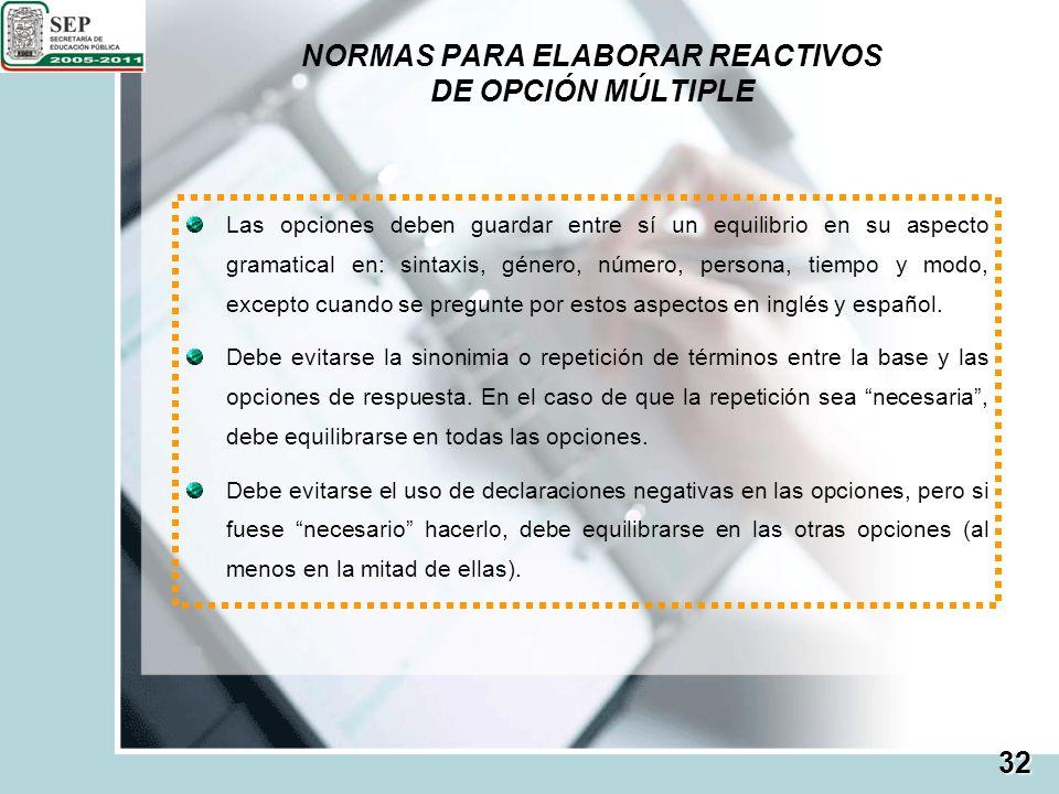 NORMAS PARA ELABORAR REACTIVOS DE OPCIÓN MÚLTIPLE
