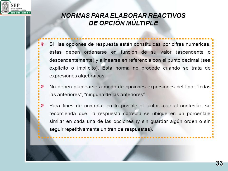 NORMAS PARA ELABORAR REACTIVOS