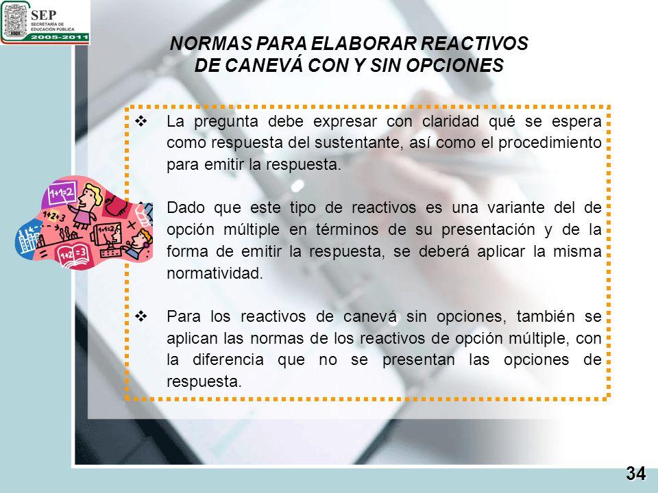 NORMAS PARA ELABORAR REACTIVOS DE CANEVÁ CON Y SIN OPCIONES