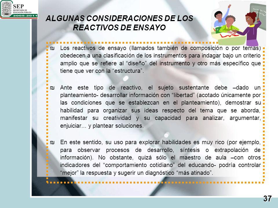 ALGUNAS CONSIDERACIONES DE LOS