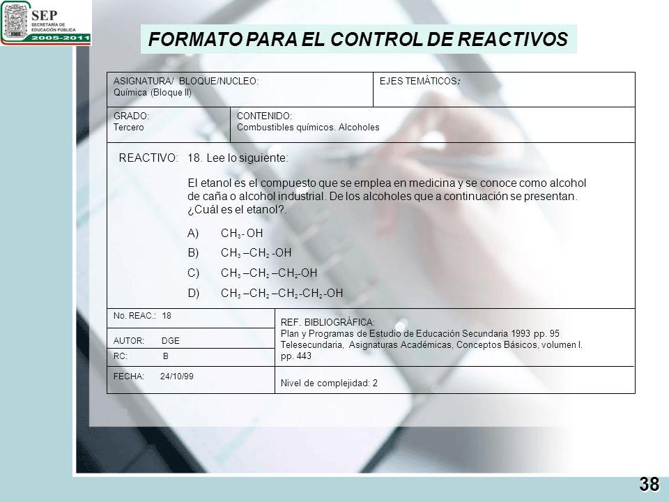 FORMATO PARA EL CONTROL DE REACTIVOS