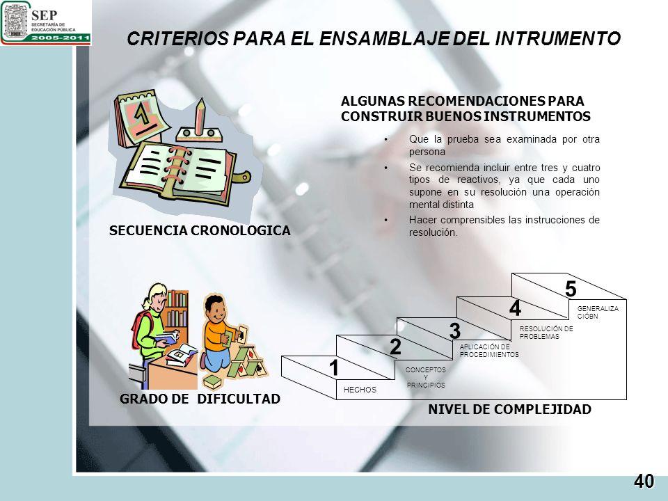 CRITERIOS PARA EL ENSAMBLAJE DEL INTRUMENTO