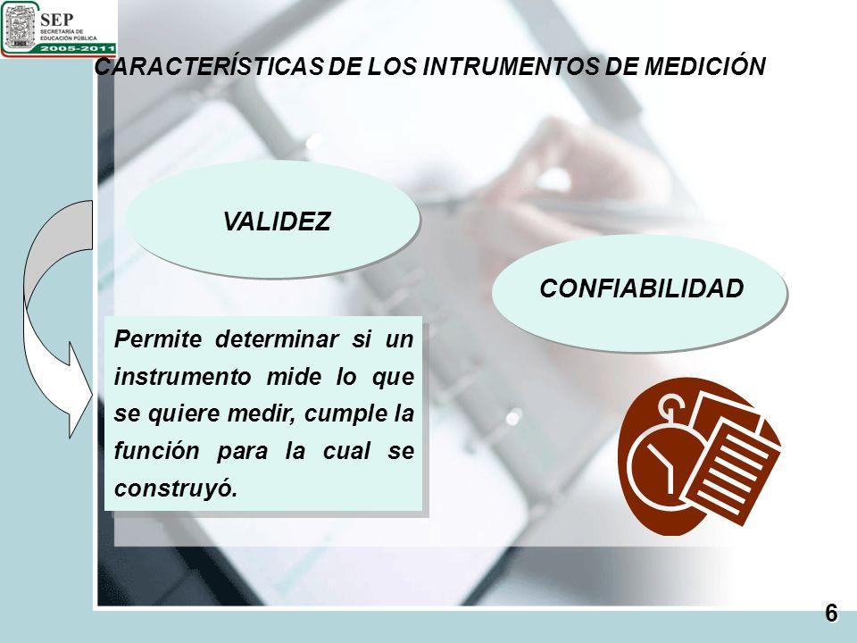 VALIDEZ CONFIABILIDAD CARACTERÍSTICAS DE LOS INTRUMENTOS DE MEDICIÓN