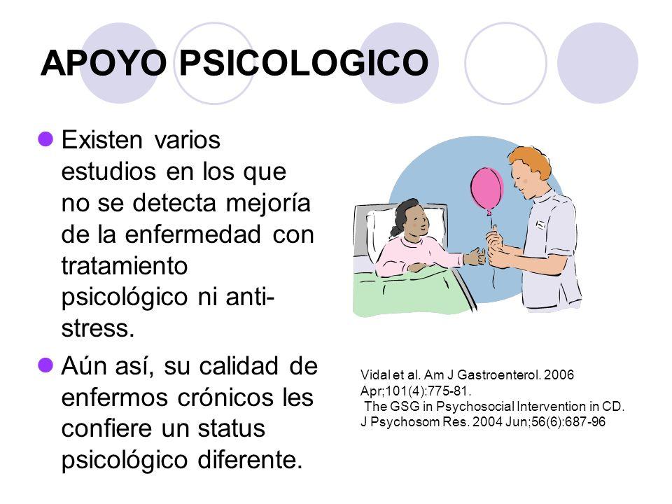 APOYO PSICOLOGICO Existen varios estudios en los que no se detecta mejoría de la enfermedad con tratamiento psicológico ni anti-stress.