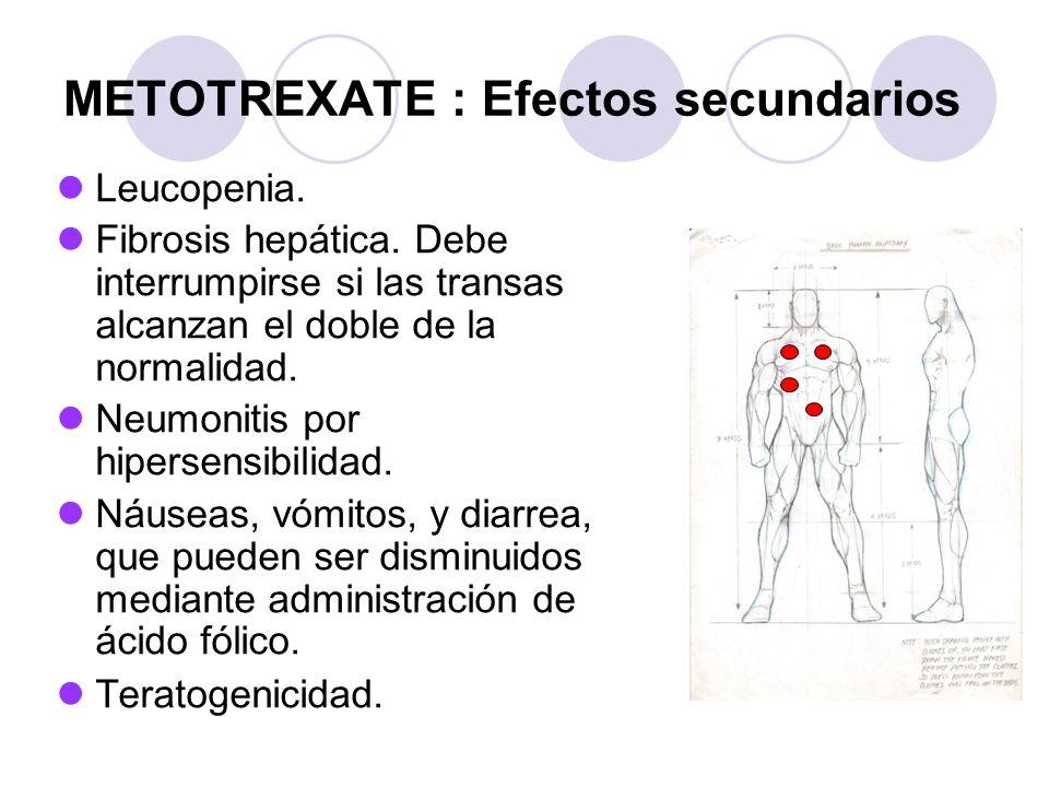METOTREXATE : Efectos secundarios