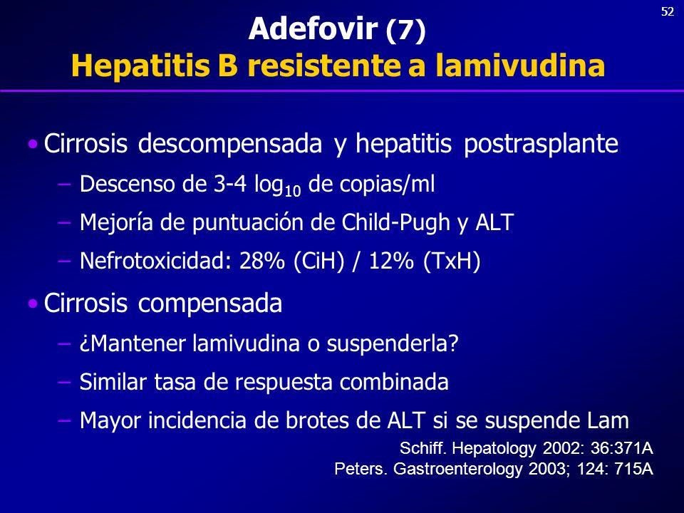 Adefovir (7) Hepatitis B resistente a lamivudina