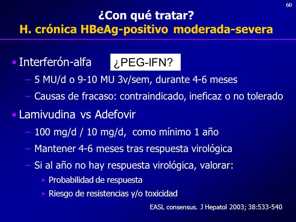 ¿Con qué tratar H. crónica HBeAg-positivo moderada-severa