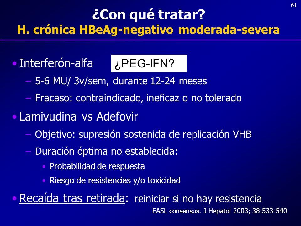 ¿Con qué tratar H. crónica HBeAg-negativo moderada-severa