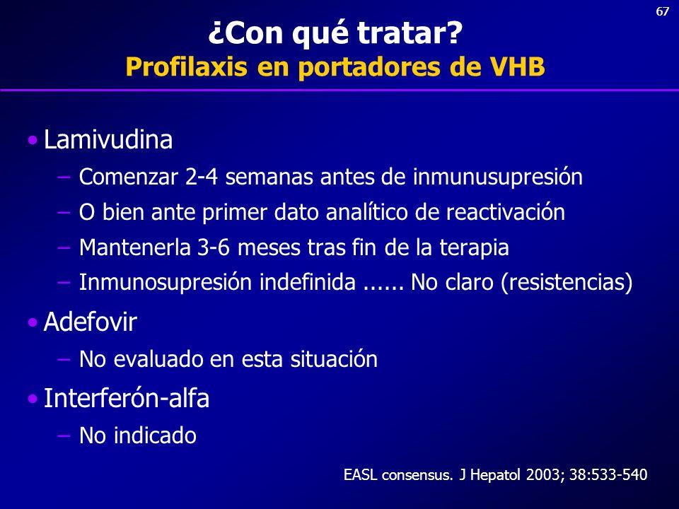 ¿Con qué tratar Profilaxis en portadores de VHB