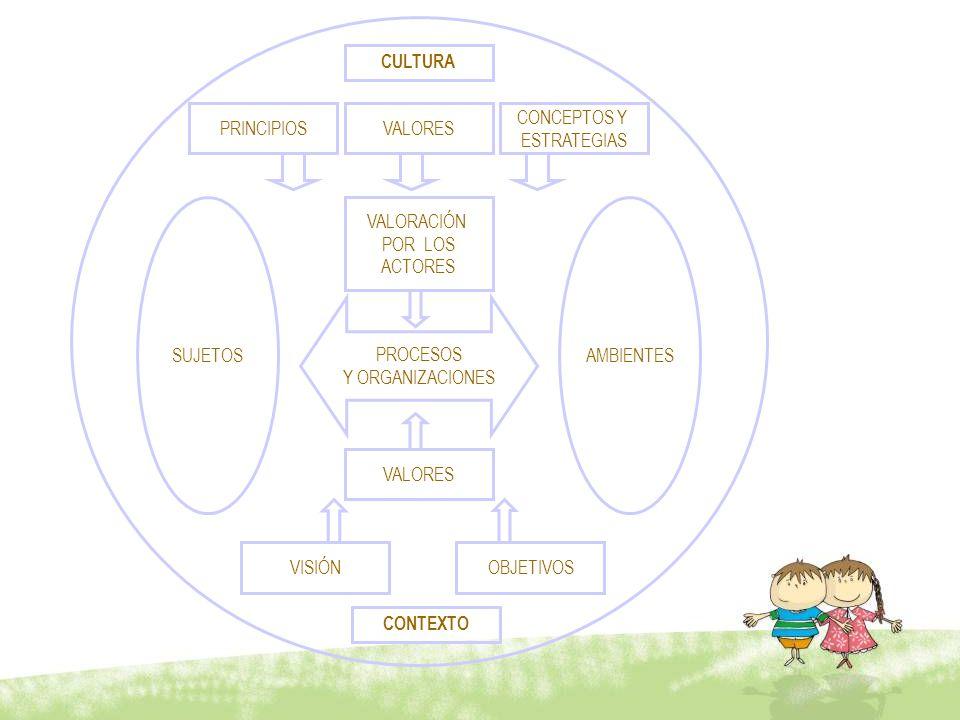 CULTURA PRINCIPIOS. CONCEPTOS Y. ESTRATEGIAS. VALORES. VALORACIÓN. POR LOS. ACTORES. PROCESOS.