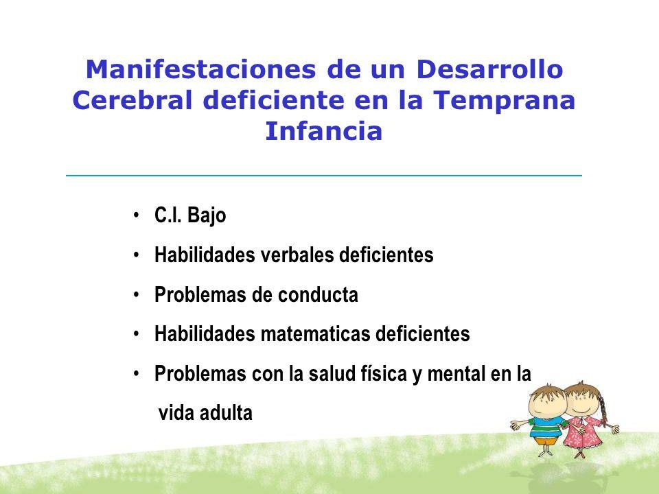 Manifestaciones de un Desarrollo Cerebral deficiente en la Temprana Infancia